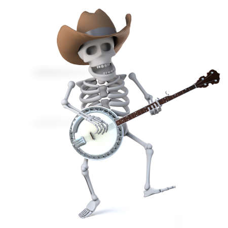 mortality: 3d render of a cowboy skeleton dancing whilst playing the banjo ukulele Stock Photo