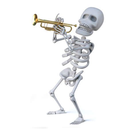 mortality: 3d render of a skeleton playing a trumpet