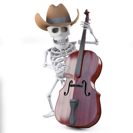 double bass: 3d render of a cowboy skelton playing the double bass