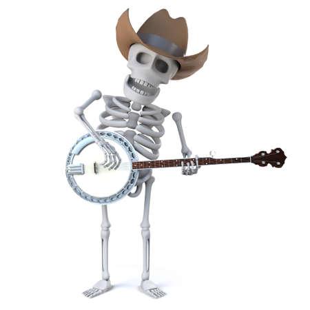 mortality: 3d render of a cowboy skeleton playing a banjo ukulele