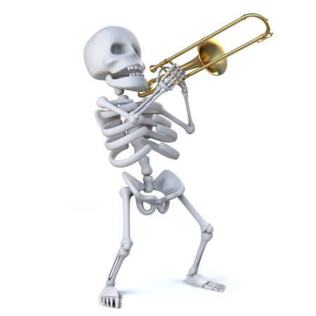 trombone: 3d render of a skeleton playing a trombone