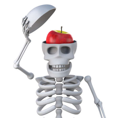 reveal: 3d render of a skeleton holding open the top of his skull to reveal a red apple.