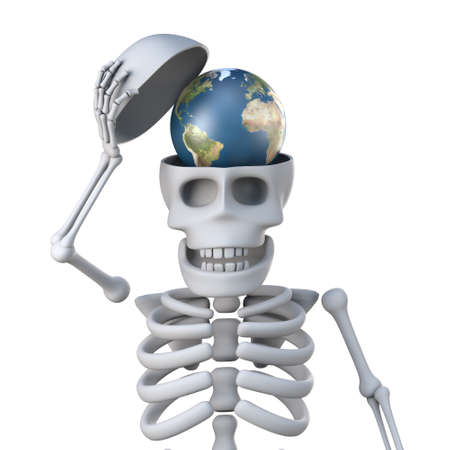 remains: 3d render of a skeleton with a globe of the Earth in his skull