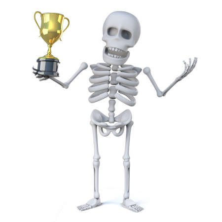 gold cup: 3d render of a skeleton holding a gold cup trophy