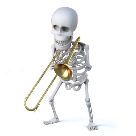 trombone: 3d render of a skeleton playing a trombone