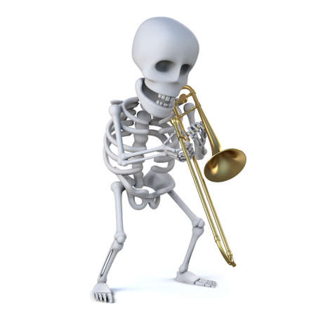 mortality: 3d render of a skeleton playing a trombone