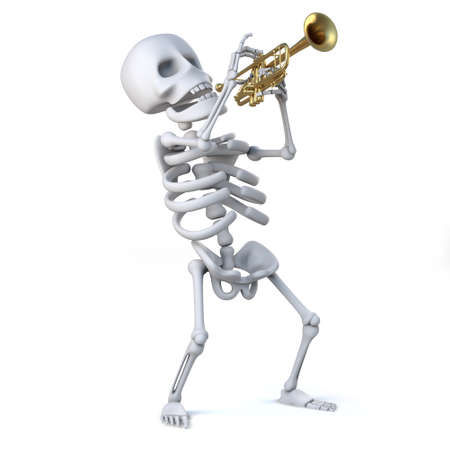 gusto: 3d render of a skeleton playing a trumpet with gusto!