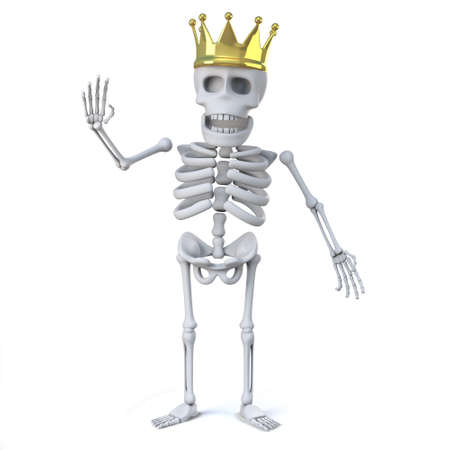 gold crown: 3d render of a skeleton wearing a gold crown