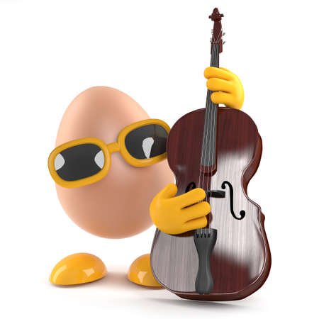 double bass: 3d render of an egg playing a double bass