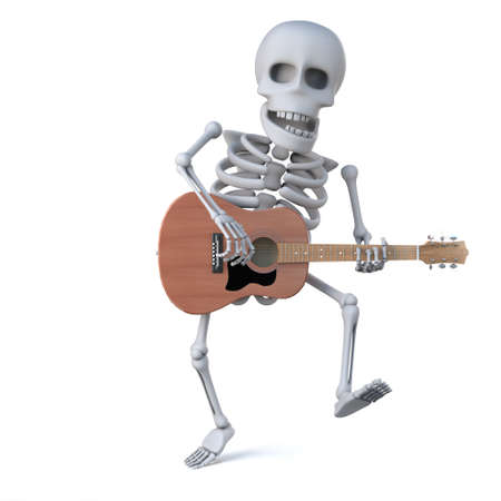 mortal: 3d render of a skeleton dancing and playing an acoustic guitar Stock Photo