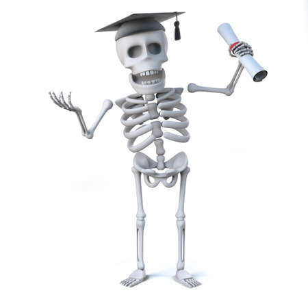 mortar board: 3d render of a skeleton wearing a graduation mortar board and holding a diploma Stock Photo