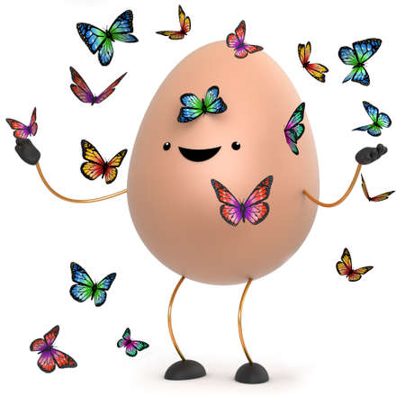 wholesome: 3d render of a cute toy egg surrounded by beautiful butterflies Stock Photo
