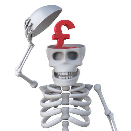remains: 3d render of a skeleton revealing a UK Pounds Sterling currency symbol in his skull Stock Photo