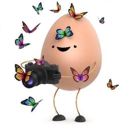 protein crops: 3d render of a cute toy egg holding a camera and surrounded by butterflies