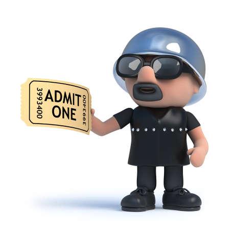 admission: 3d render of a biker holding an admission ticket
