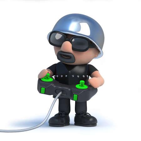 leather coat: 3d render of a biker holding a videogame joystick