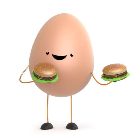 wholesome: 3d render of a cute toy egg holding two beef burgers Stock Photo