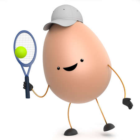 wholesome: 3d render of a cute toy egg playing tennis
