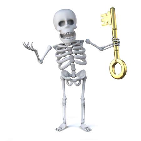 gold key: 3d render of a skeleton holding a gold key