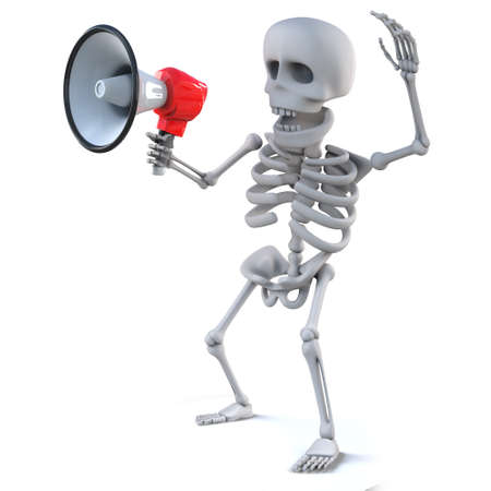 mortal: 3d render of a skeleton using a megaphone Stock Photo