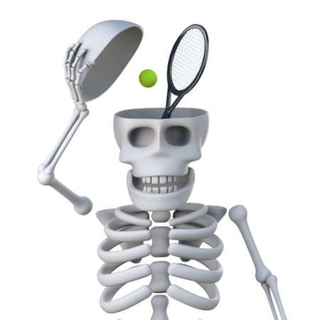reveal: 3d render of a skeleton opening his skull to reveal a tennis racquet and ball Stock Photo