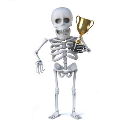 gold cup: 3d render of a skeleton holding a gold cup trophy award