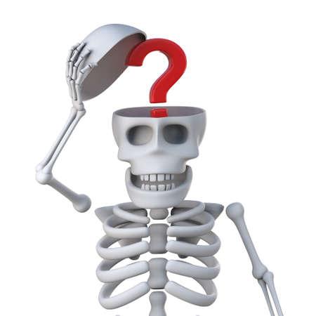 unknown men: 3d render of a skeleton revealing a question mark hidden inside its skull Stock Photo