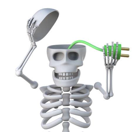 mortal: 3d render of a skeleton revealing a green power lead inside his skull