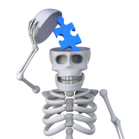 reveal: 3d render of a skeleton opening his skull to reveal a piece of a jigsaw puzzle