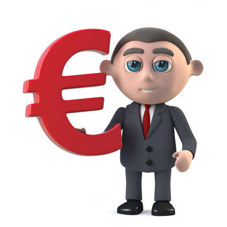 shareholder: 3d render in a cartoon style of a businessman holding a Euro currency symbol