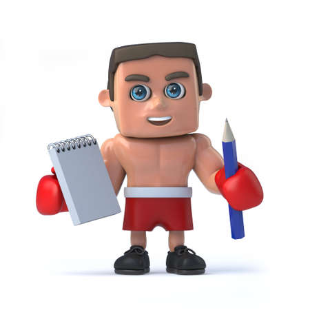 macho: 3d render of a boxer holding a notepad and pencil