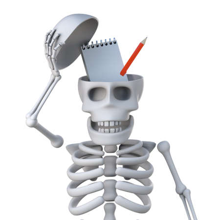mortal: 3d render of a skeleton revealing a notepad and pencil inside its skull bone.