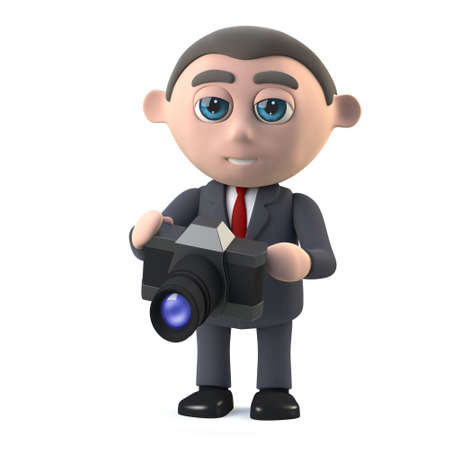 slr camera: 3d render in a cartoon style of a businessman holding an SLR camera Stock Photo