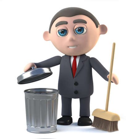 tidy: 3d render of a businessman with a broom and waste bin