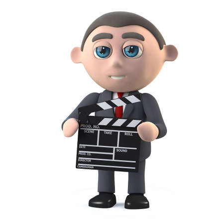 investors: 3d render in a cartoon style of a businessman holding a movie making clapperboard. Stock Photo