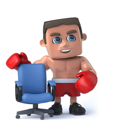 vacancies: 3d render of a boxer standing next to an empty office chair