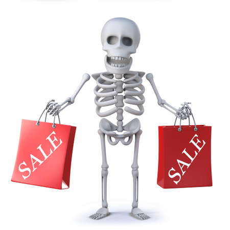 mortal: 3d render of a skeleton carrying two sale bags