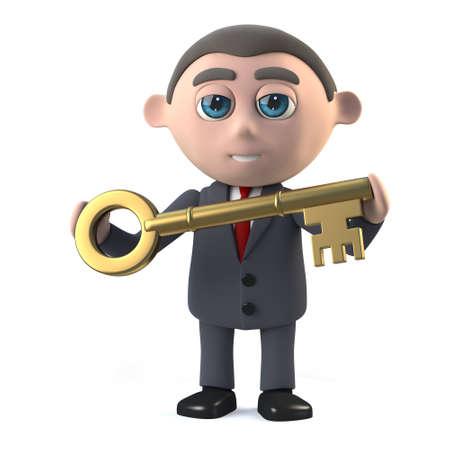 has: 3d Businessman has a golden key Stock Photo