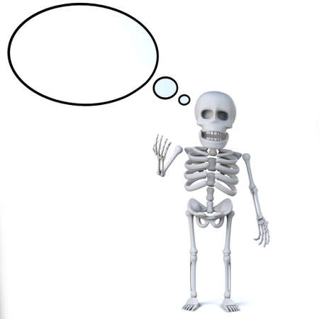 thought balloon: 3d Skeleton has a blank thought balloon
