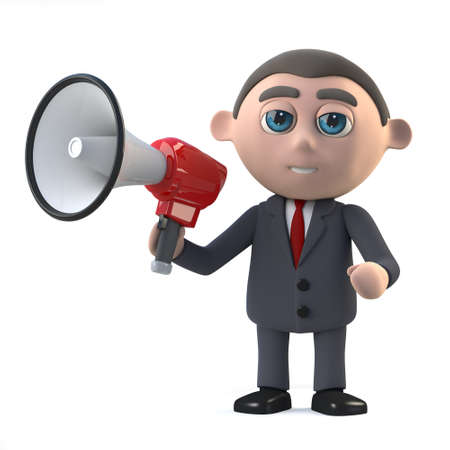 amplify: 3d render of a businessman holding a megaphone