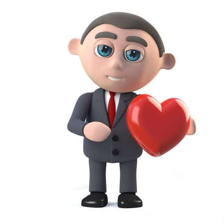 has: 3d Businessman has a heart