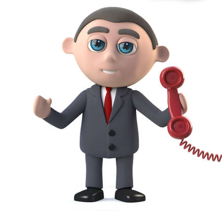 answering: 3d render of a businessman answering a phone