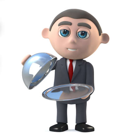 silver service: 3d render of a businessman holding a silver tray