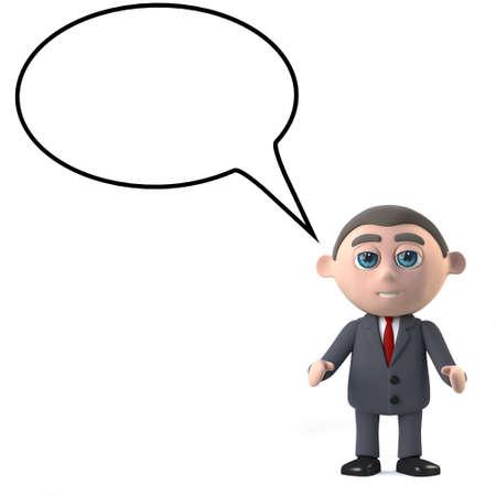 shareholder: 3d render of a businessman with an empty speech bubble
