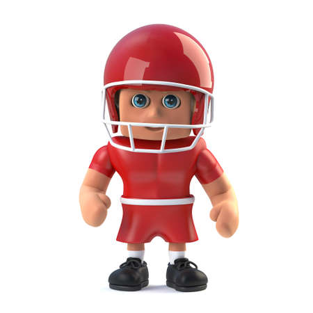 footballer: 3d render of an American footballer cartoon style character standing still