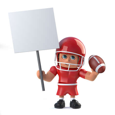 footballer: 3d render in a cartoon style of an American footballer holding a blank play card and football