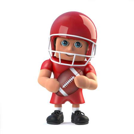 footballer: 3d render of a cartoon style American footballer character holding the football