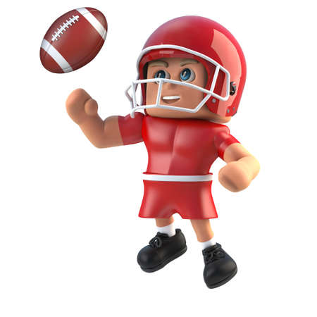 footballer: 3d render of a cartoon style American footballer leaping for the football