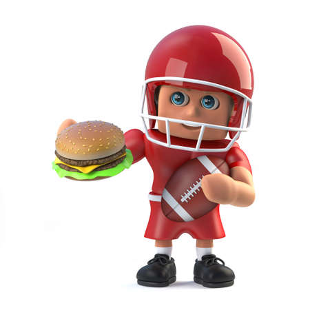 footballer: 3d render of a cartoon style of an American footballer character holding a beefburger and football