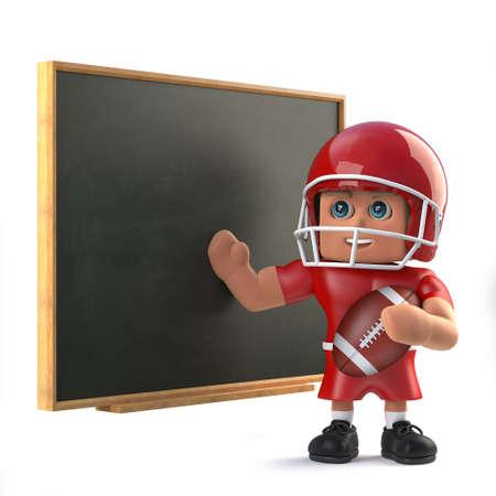 footballer: 3d American footballer at the chalkboard